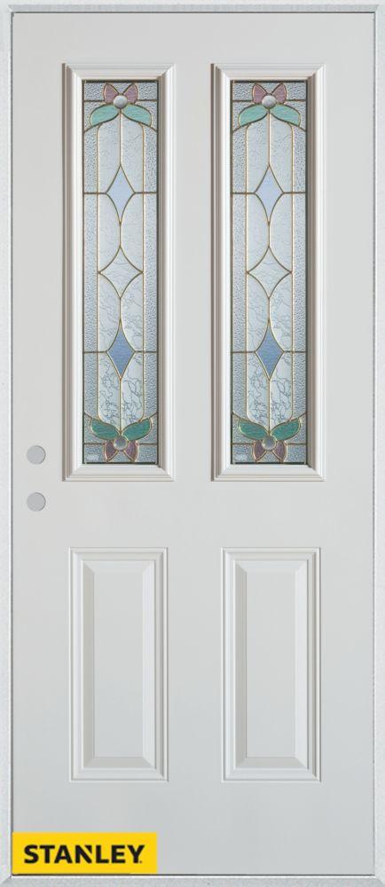 Porte dentrée en acier préfini blanc, munie de deux panneaux et de deux verres patina, 36 po x 80...