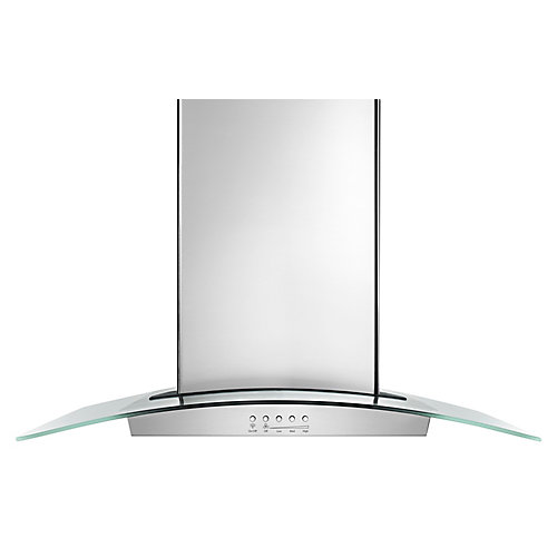 36-inch Modern Glass Island Mount Range Hood in Stainless Steel