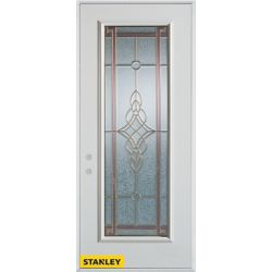 Stanley Doors 33.375 inch x 82.375 inch Milano Patina Full Lite Prefinished White Right-Hand Inswing Steel Prehung Front Door - ENERGY STAR®