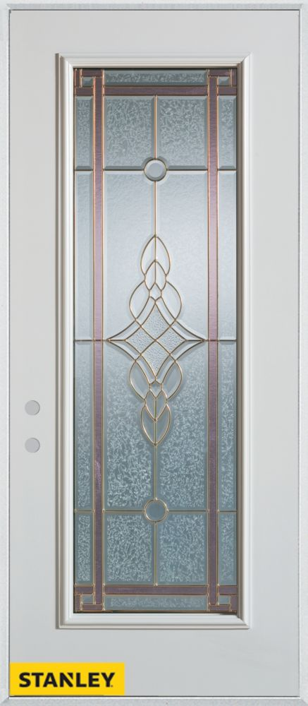 Stanley Doors 35.375 inch x 82.375 inch Milano Patina Full Lite Prefinished White Right-Hand Inswing Steel Prehung Front Door - ENERGY STAR®