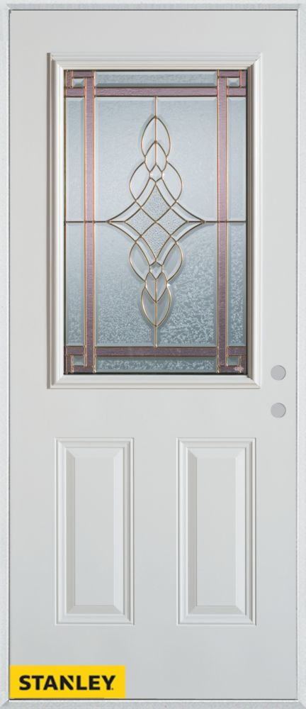 stanley doors 34 inch x 80 inch art deco patina 1 2 lite 2 panel white