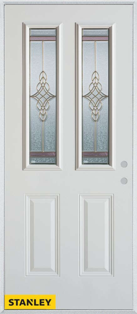 32-inch x 80-inch Art Deco Patina 2-Lite 2-Panel White Steel Entry Door with Left Inswing