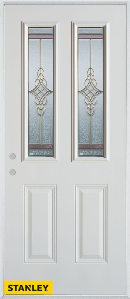 34-inch x 80-inch Art Deco Patina 2-Lite 2-Panel White Steel Entry Door with Right Inswing