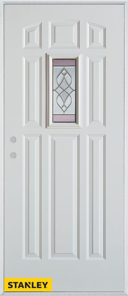 Porte dentrée en acier préfini blanc, munie de huit panneaux et dun verre patina rectangulaire, 3...