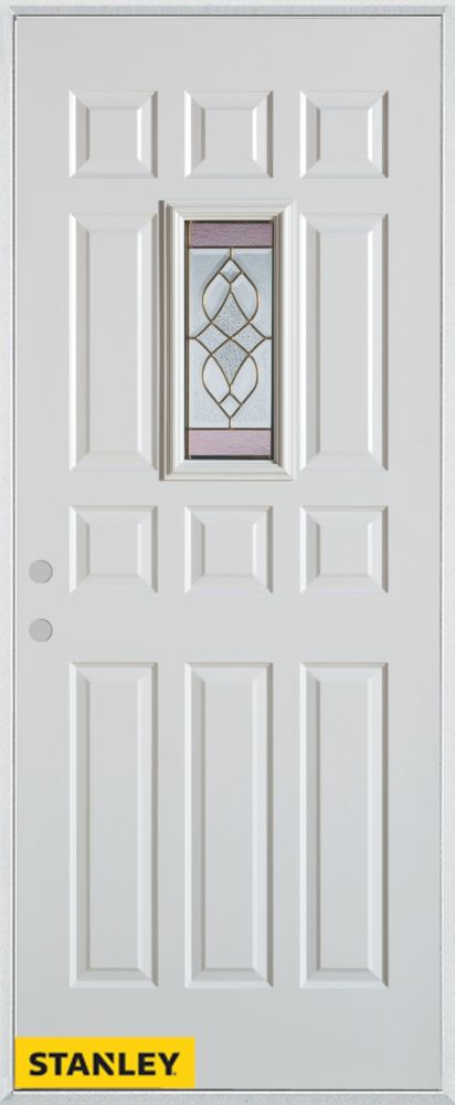 34-inch x 80-inch Art Deco Rectangular Lite 12-Panel White Steel Entry Door with Right Inswing