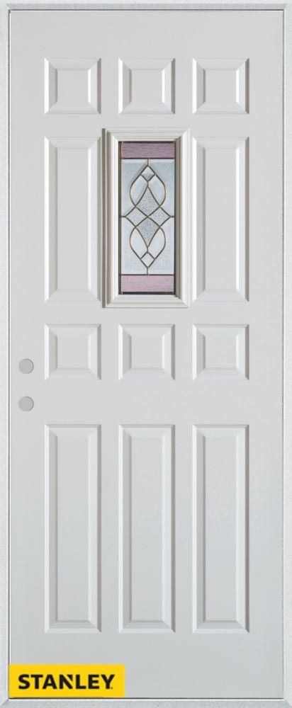 Porte dentrée en acier préfini blanc, munie de douze panneaux et dun verre patina rectangulaire, ...