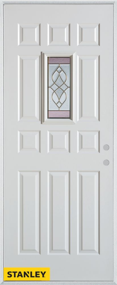 36-inch x 80-inch Art Deco Rectangular Lite 12-Panel White Steel Entry Door with Left Inswing