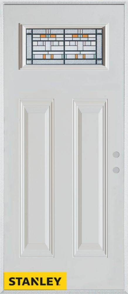 32-inch x 80-inch Architectural Rectangular Lite 2-Panel White Steel Entry Door with Left Inswing