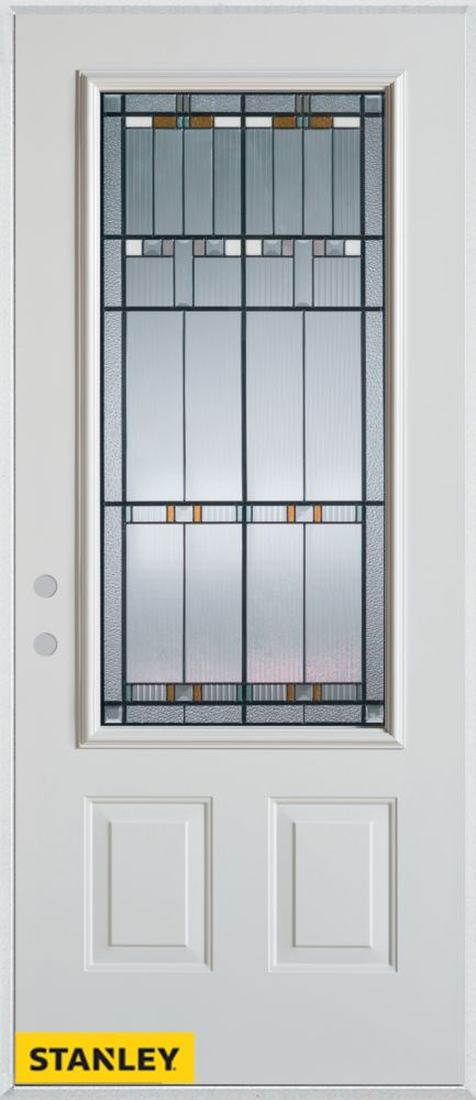 32-inch x 80-inch Architectural Patina 3/4-Lite 2-Panel White Steel Entry Door with Right Inswing
