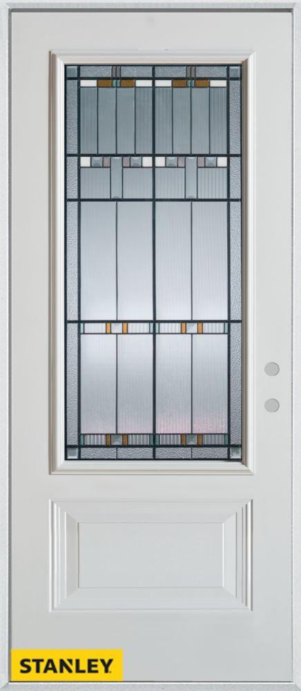 Stanley Doors 33.375 inch x 82.375 inch Chicago Patina 3/4 Lite 1-Panel Prefinished White Left-Hand Inswing Steel Prehung Front Door - ENERGY STAR®