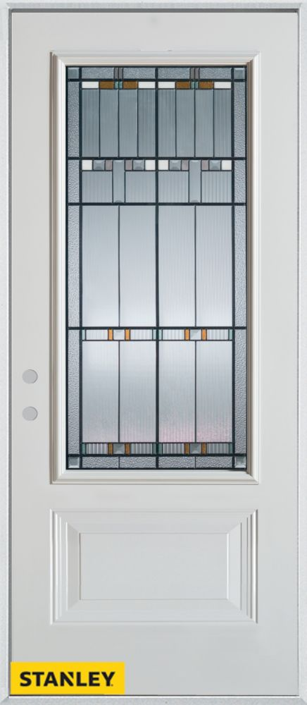 32-inch x 80-inch Architectural Patina 3/4-Lite 1-Panel White Steel Entry Door with Right Inswing