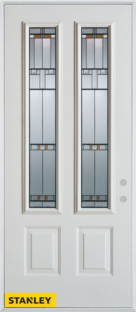 32-inch x 80-inch Architectural Patina 2-Lite 2-Panel White Steel Entry Door with Left Inswing