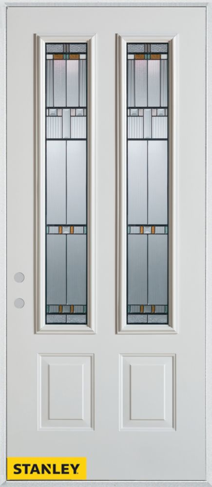32-inch x 80-inch Architectural Patina 2-Lite 2-Panel White Steel Entry Door with Right Inswing