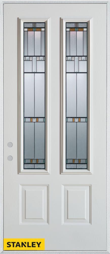 Porte dentrée en acier préfini blanc, munie de deux panneaux et de deux verres, 34 po x 80 po - D...