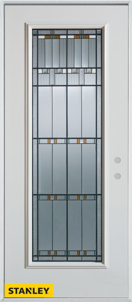 32-inch x 80-inch Architectural Patina Full Lite White Steel Entry Door with Left Inswing