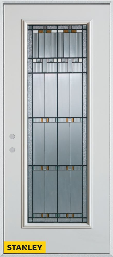 32-inch x 80-inch Architectural Patina Full Lite White Steel Entry Door with Right Inswing