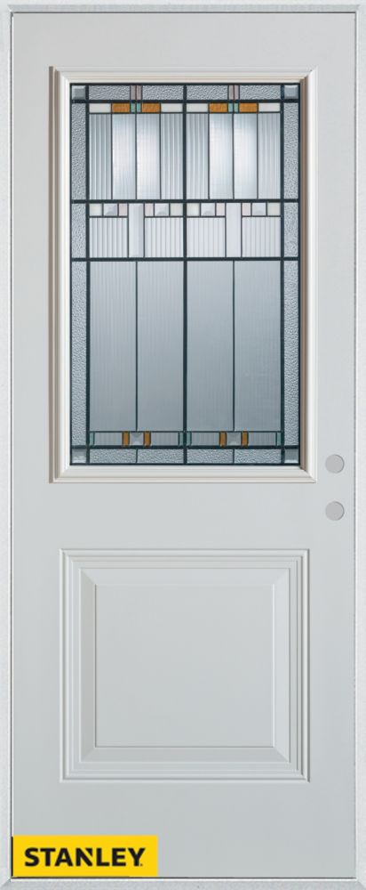 32-inch x 80-inch Architectural Patina 1/2-Lite 1-Panel White Steel Entry Door with Left Inswing
