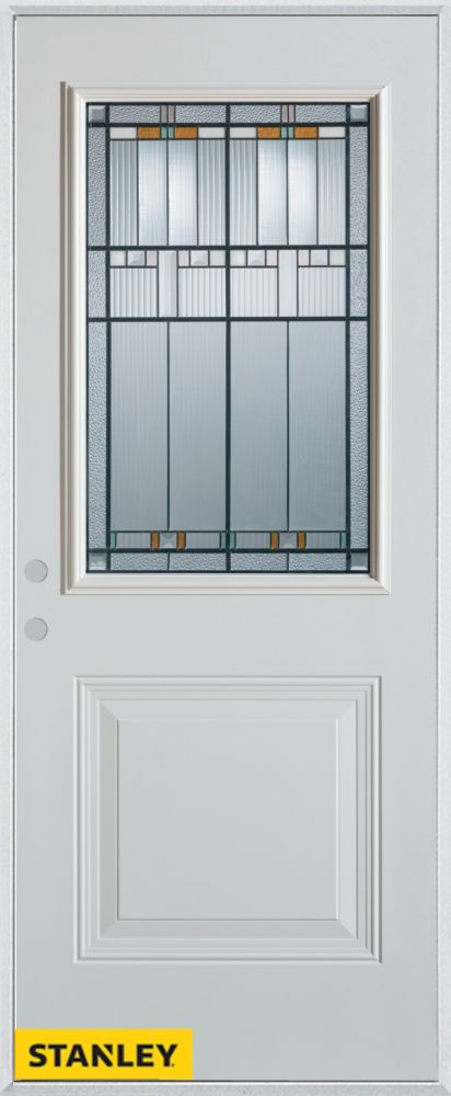 36-inch x 80-inch Architectural Patina 1/2-Lite 1-Panel White Steel Entry Door with Right Inswing