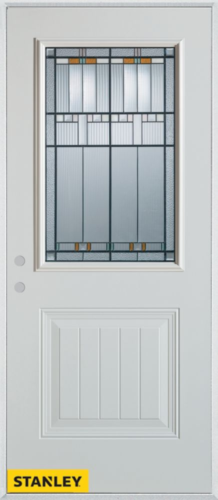 34-inch x 80-inch Architectural Patina 1/2-Lite 1-Panel White Steel Entry Door with Right Inswing