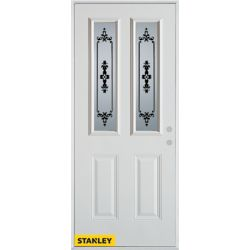 Stanley Doors 35.375 inch x 82.375 inch Renoir 2-Lite 2-Panel Prefinished White Left-Hand Inswing Steel Prehung Front Door - ENERGY STAR®