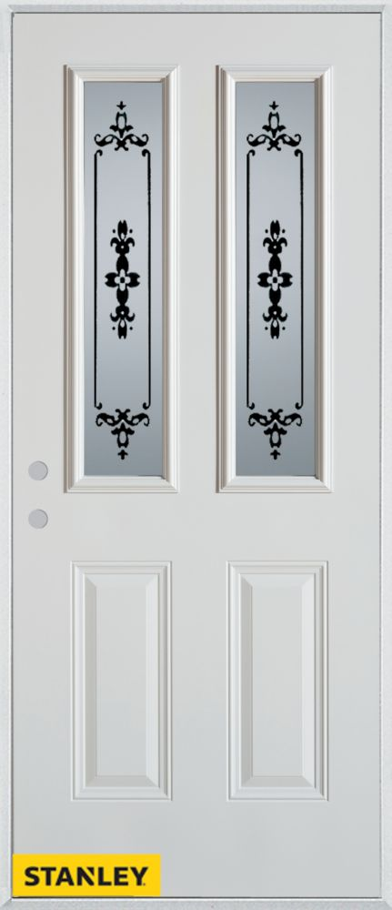 34-inch x 80-inch Silkscreened 2-Lite 2-Panel White Steel Entry Door with Right Inswing