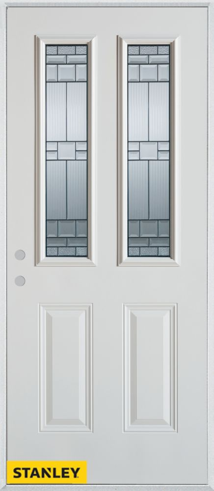 Porte dentrée en acier préfini blanc, munie de deux panneaux et de deux verres zinc, 34 po x 80 p...