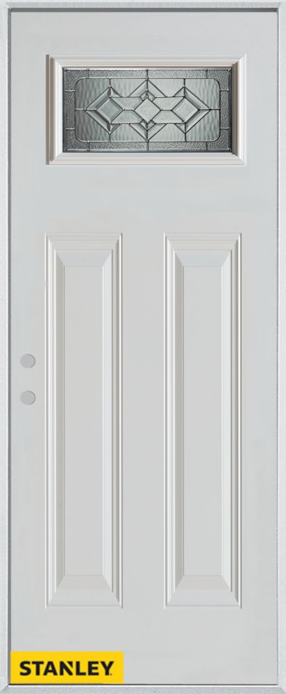 36-inch x 80-inch Neo-Deco Zinc Rectangular Lite 2-Panel White Steel Entry Door with Right Inswin...