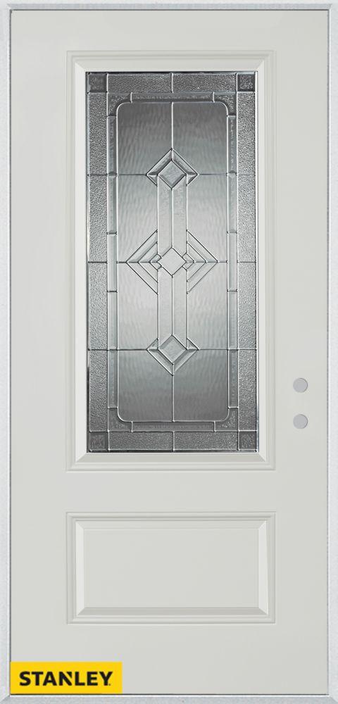 32-inch x 80-inch Neo-Deco Zinc 3/4-Lite 1-Panel White Steel Entry Door with Left Inswing