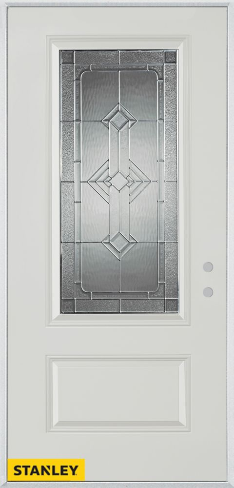 Stanley Doors 37.375 inch x 82.375 inch Neo Deco Zinc 3/4 Lite 1-Panel Prefinished White Left-Hand Inswing Steel Prehung Front Door - ENERGY STAR®
