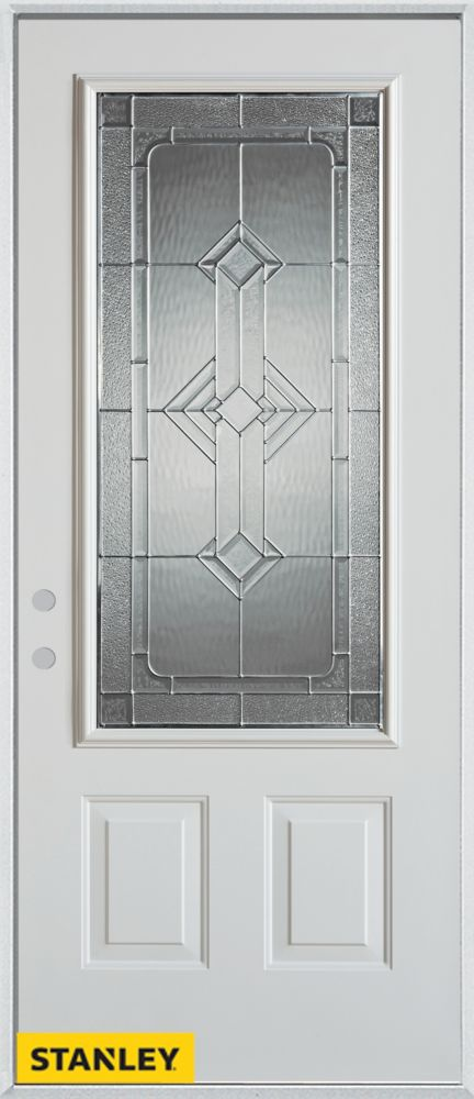 34-inch x 80-inch Neo-Deco Zinc 3/4-Lite 2-Panel White Steel Entry Door with Right Inswing