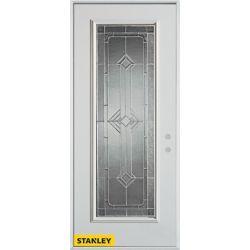 STANLEY Doors 35.375 inch x 82.375 inch Neo Deco Zinc Full Lite Prefinished White Left-Hand Inswing Steel Prehung Front Door - ENERGY STAR®