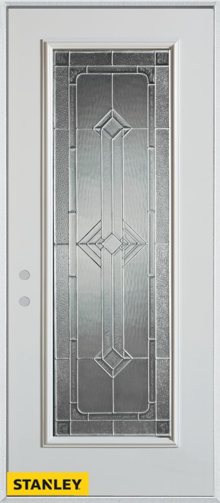 Stanley Doors 35.375 inch x 82.375 inch Neo Deco Zinc Full Lite Prefinished White Right-Hand Inswing Steel Prehung Front Door - ENERGY STAR®