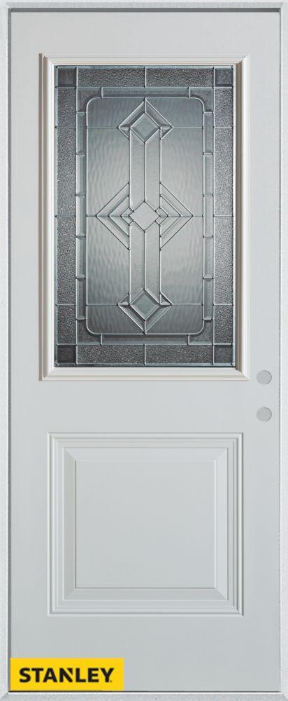 34-inch x 80-inch Neo-Deco Zinc 1/2-Lite 1-Panel White Steel Entry Door with Left Inswing