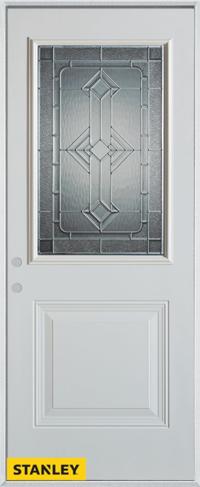 34-inch x 80-inch Neo-Deco Zinc 1/2-Lite 1-Panel White Steel Entry Door with Right Inswing