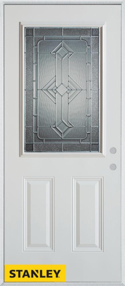 Stanley Doors 33.375 inch x 82.375 inch Neo Deco Zinc 1/2 Lite 2-Panel Prefinished White Left-Hand Inswing Steel Prehung Front Door - ENERGY STAR®