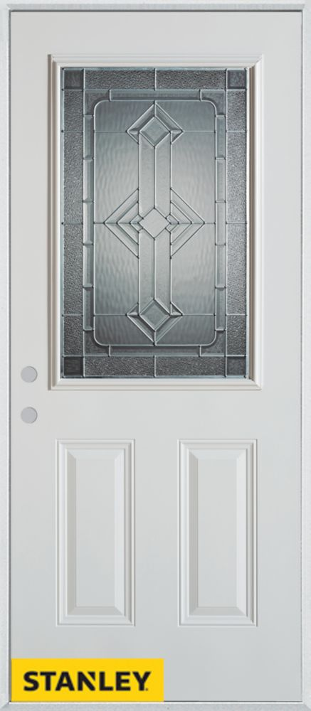 32-inch x 80-inch Neo-Deco Zinc 1/2-Lite 2-Panel White Steel Entry Door with Right Inswing