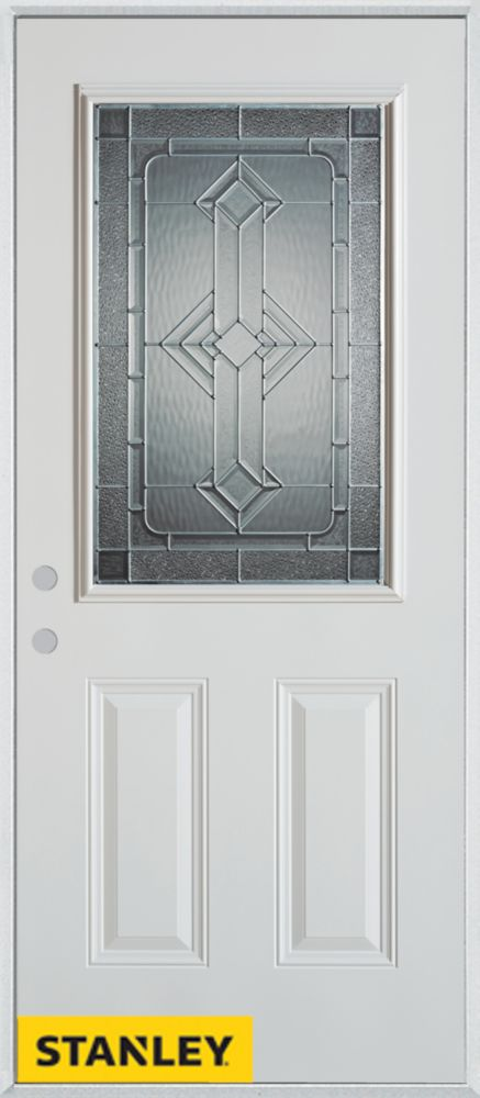 34-inch x 80-inch Neo-Deco Zinc 1/2-Lite 2-Panel White Steel Entry Door with Right Inswing