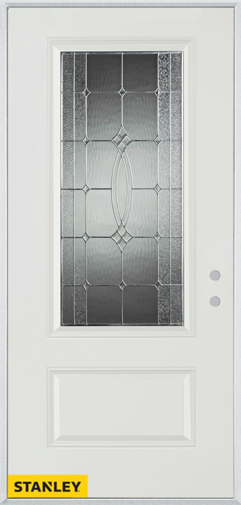 32-inch x 80-inch Diamanti Classic Zinc 3/4-Lite 1-Panel White Steel Entry Door with Left Inswing