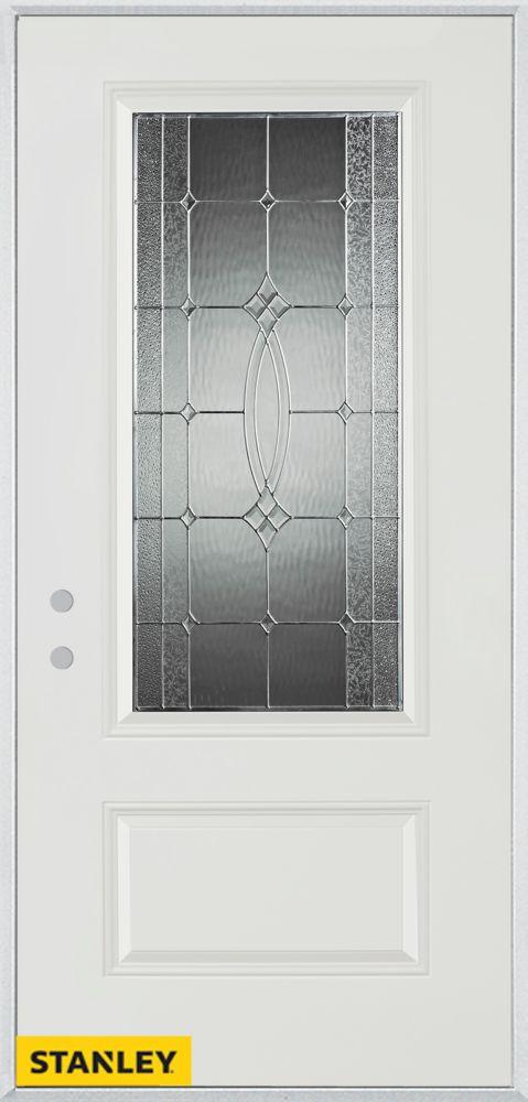 Porte dentrée en acier préfini blanc, munie d'un panneau et dun 3/4 verre zinc, 32 po x 80 po - D...