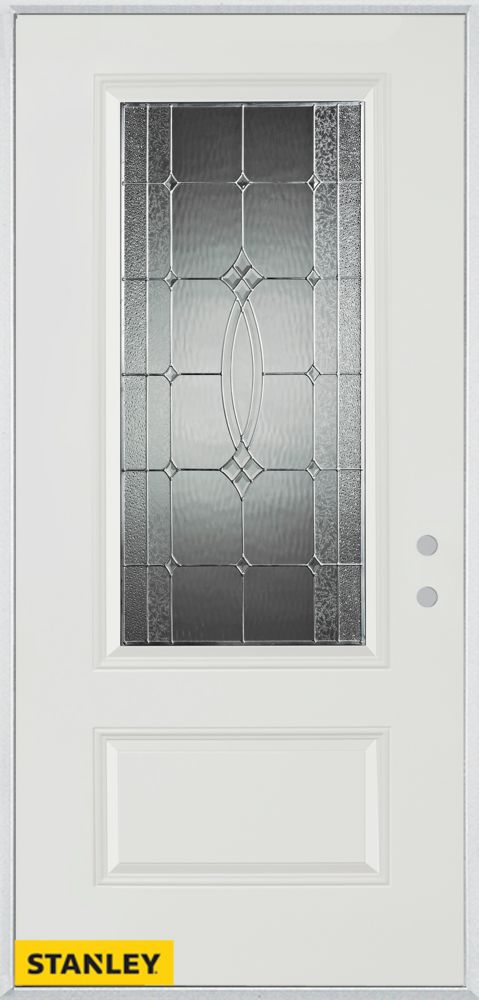 36-inch x 80-inch Diamanti Classic Zinc 3/4-Lite 1-Panel White Steel Entry Door with Left Inswing