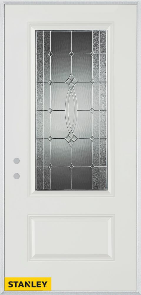 36-inch x 80-inch Diamanti Classic Zinc 3/4-Lite 1-Panel White Steel Entry Door with Right Inswin...