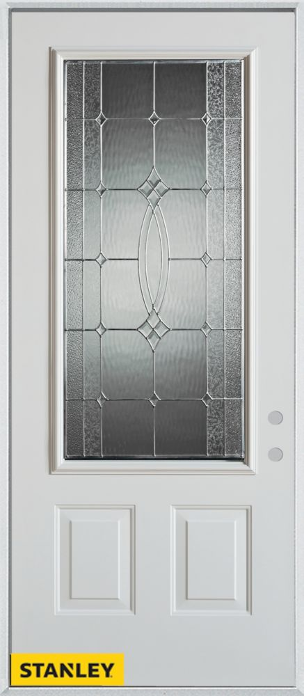 32-inch x 80-inch Diamanti Classic Zinc 3/4-Lite 2-Panel White Steel Entry Door with Left Inswing