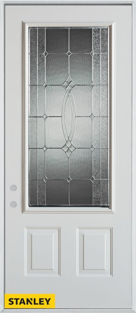 34-inch x 80-inch Diamanti Classic Zinc 3/4-Lite 2-Panel White Steel Entry Door with Right Inswin...