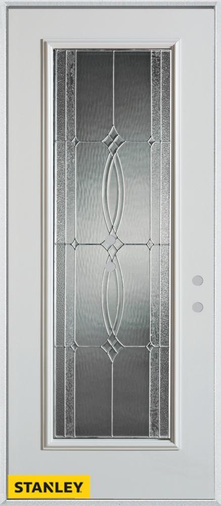 Porte dentrée en acier préfini blanc, munie d'un panneau de verre zinc, 34 po x 80 po - Gauche