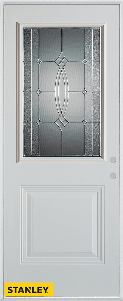 33.375 inch x 82.375 inch Diamanti Zinc 1/2 Lite 1-Panel Prefinished White Left-Hand Inswing Steel Prehung Front Door - ENERGY STAR®
