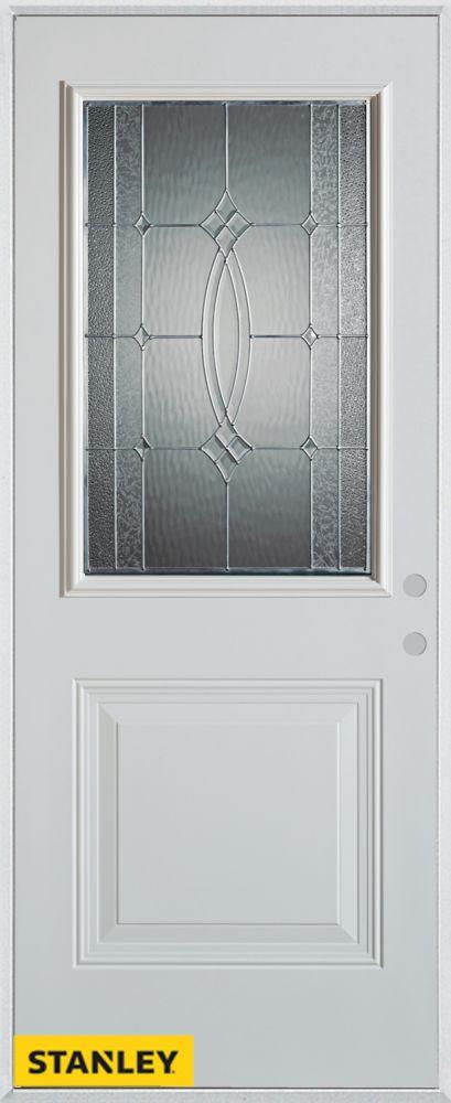 Stanley Doors 33.375 inch x 82.375 inch Diamanti Zinc 1/2 Lite 1-Panel Prefinished White Left-Hand Inswing Steel Prehung Front Door - ENERGY STAR®
