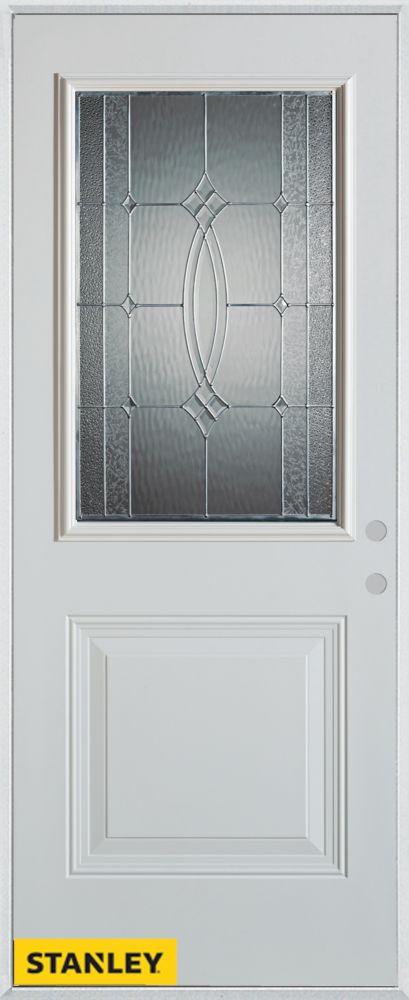 Stanley Doors 37.375 inch x 82.375 inch Diamanti Zinc 1/2 Lite 1-Panel Prefinished White Left-Hand Inswing Steel Prehung Front Door - ENERGY STAR®