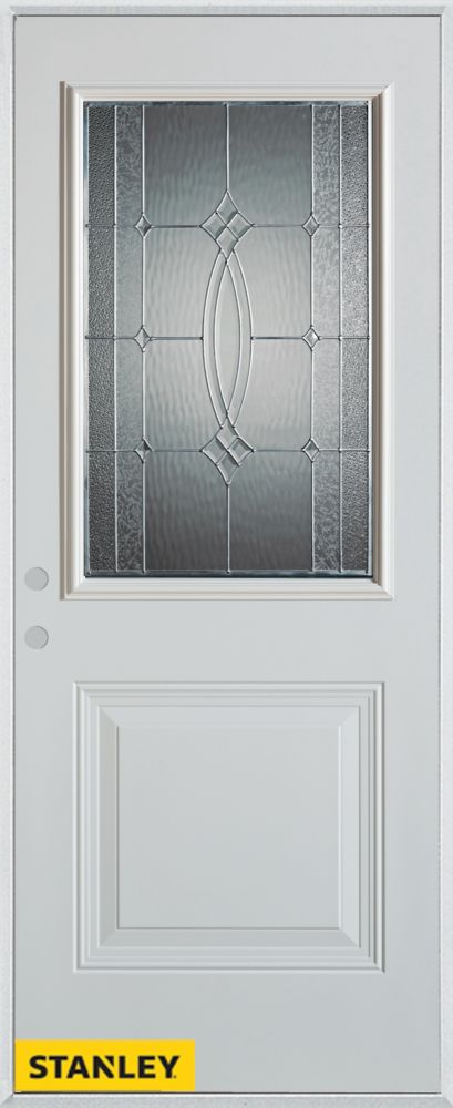 36-inch x 80-inch Diamanti Classic Zinc 1/2-Lite 1-Panel White Steel Entry Door with Right Inswin...
