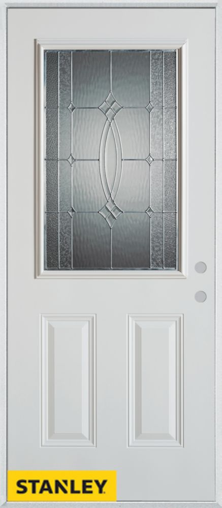 Stanley Doors 35.375 inch x 82.375 inch Diamanti Zinc 1/2 Lite 2-Panel Prefinished White Left-Hand Inswing Steel Prehung Front Door - ENERGY STAR®