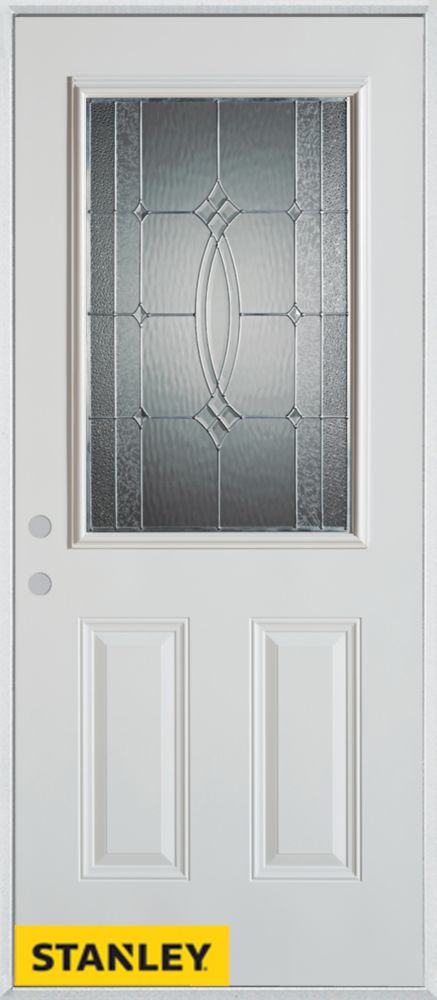 34-inch x 80-inch Diamanti Classic Zinc 1/2-Lite 2-Panel White Steel Entry Door with Right Inswin...